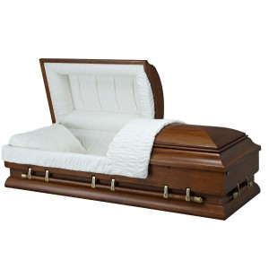 Stylish Walnut Finish (Paulownia) - Premium Wooden American Casket – Rosetan Crepe Interior
