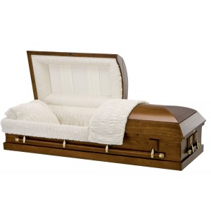 Satin Walnut Finish (Paulownia) - Premium Wooden American Casket – Rosetan Crepe Interior