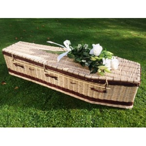 Autumn Gold Premium Wicker / Willow Creamy White with Chestnut (Traditional) Coffin. **UNIQUE**