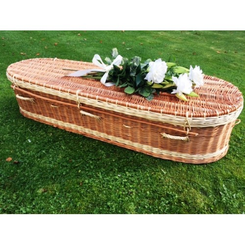 Autumn Gold Premium Wicker / Willow 'Brown & Cream' (Oval) Coffin - **SPECIAL ORDER**