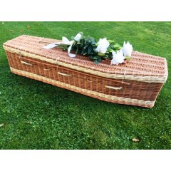 Autumn Gold Premium Wicker / Willow Brown & Cream (Traditional) Coffin ** ENDLESSLY TREASURED **