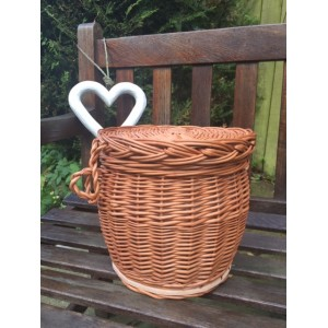 Autumn Gold Wicker / Willow Cylinder Cremation Ashes Urn / Casket - Natural Buff