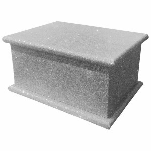 Sparkling Silver Cloud Glitter Wood Wooden Ashes Casket, Funeral Urn Cremation for Ash Burial