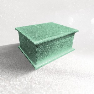 Sparkling Kryptonite Green Glitter Wood Wooden Ashes Casket, Funeral Urn Cremation for Ash Burial