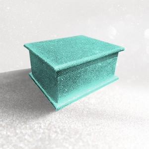 Sparkling Aquamarine Turquoise Glitter Wood Wooden Ashes Casket, Funeral Urn Cremation for Ash Burial