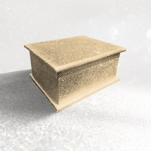 Sparkling Champagne Glitter Wood Wooden Ashes Casket, Funeral Urn Cremation for Ash Burial