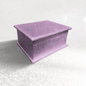 Sparkling Lilac Petal Glitter Wood Wooden Ashes Casket, Funeral Urn Cremation for Ash Burial