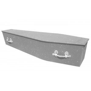 Glittering Wooden Coffin – Crystal Silver **LIMITED OFFER - FREE Personalisation & Photo's**