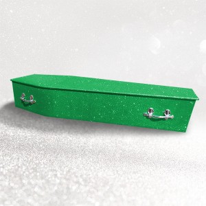 Glittering Wooden Coffin – Dream Green **LIMITED OFFER - FREE Personalisation & Photo's**
