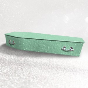 Glittering Wooden Coffin – Kryptonite Green **LIMITED OFFER - FREE Personalisation & Photo's**