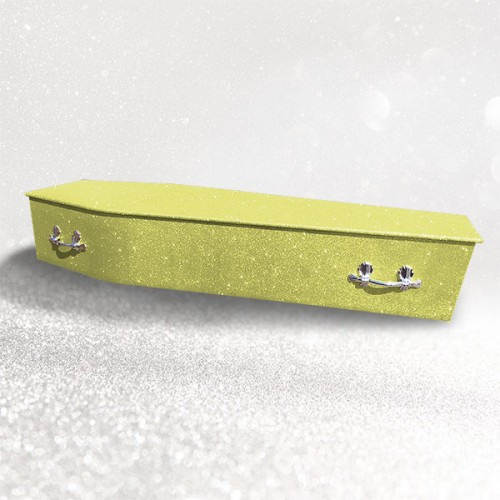 Glittering Wooden Coffin – Sunburst Yellow **LIMITED OFFER - FREE Personalisation & Photo's**