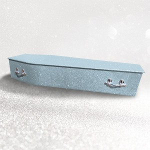 Glittering Wooden Coffin – Angel Blue **LIMITED OFFER - FREE Personalisation & Photo's**