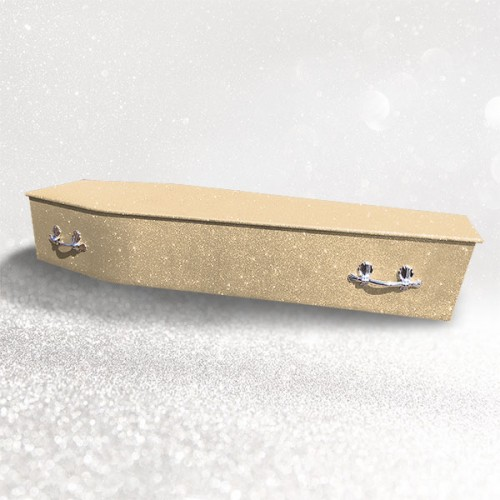 Glittering Wooden Coffin –  Serenity Champagne **LIMITED OFFER - FREE Personalisation & Photo's**