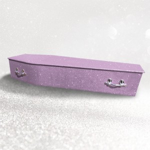 Glittering Wooden Coffin – Lilac Petal **LIMITED OFFER - FREE Personalisation & Photo's**
