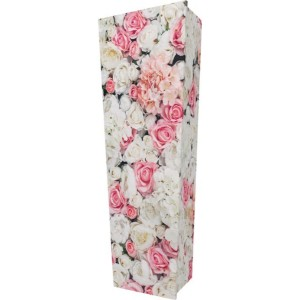 Bed of Pink Roses - Personalised Picture Coffin with Customised Design.