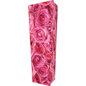 Pink Roses - Personalised Picture Coffin with Customised Design.