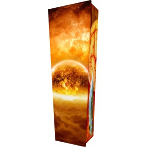 A Spacetime Odyssey - Personalised Picture Coffin with Customised Design.