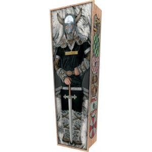 Sleeping Viking - Personalised Picture Coffin with Customised Design.