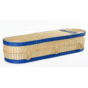 Your Colour - Wicker / Willow Imperial (Oval) Coffins – Creamy White with Blue Bands