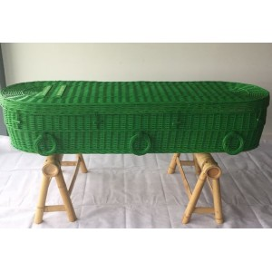 Your Colour - Wicker / Willow Coffins - FERN GREEN - Also available in a wide range of alternative colours