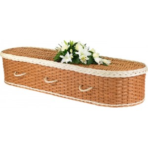 English Wicker / Willow Eco Elite Imperial Oval Coffin – Creamy White & Natural