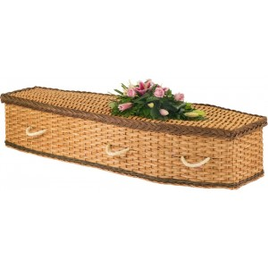 English Wicker / Willow Eco Elite Imperial Traditional Coffin – Rustic Bronze & Natural