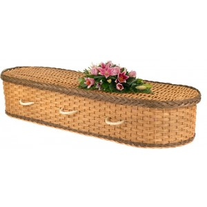 English Wicker / Willow Eco Elite Imperial Oval Coffin – Rustic Bronze & Natural
