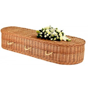 Autumn Gold Natural Buff Imperial Eco Elite Wicker / Willow Coffin – Next Working Day Dispatch