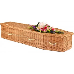 Autumn Gold Natural Buff Imperial Eco Elite Wicker / Willow Coffin – For Burial or Cremation