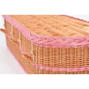 English Wicker / Willow Imperial Oval Coffin – NATURAL WOVEN BUFF & PINK BANDS (FREE DELIVERY)
