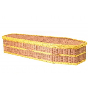 English Wicker / Willow Imperial Traditional Coffin – ANTIQUE & SUNFLOWER YELLOW