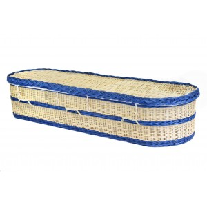 English Wicker / Willow Imperial Oval Coffin – NATURAL CREAMY WHITE & PARIS BLUE