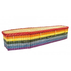 English Willow Imperial (Traditional Shape) Coffin - Over the Rainbow (Wish Upon A Star)