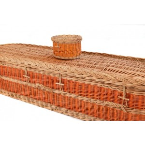 English Wicker / Willow Imperial Oval Coffin – WARM AUTUMN ORANGE WITH NATURAL BUFF