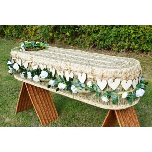 Natural Pineapple Imperial (Oval Style) Coffin with 20 Laser Cut Eternity Heart Shape Decorations