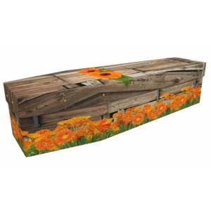 Forever Marigold - Floral Design Picture Coffin