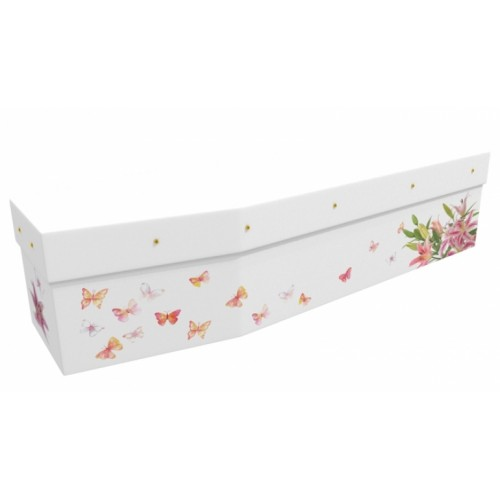 Butterflies & Orchids - Floral Design Picture Coffin