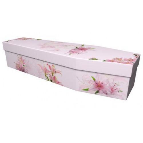Stunning Lilies - Premium Cardboard Picture Coffin