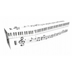Keyboard with Musical Notes – Lost in Music Design Picture Coffin