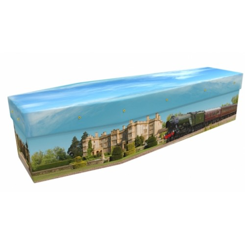 Steam Train & Country House - Transport Design Picture Coffin