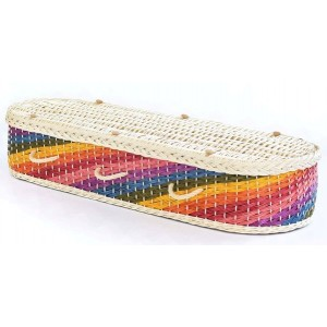 English Wicker / Willow Eco Elite Imperial Oval Coffin – Creamy White & Shining Rainbow