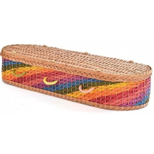 English Wicker / Willow Eco Elite Imperial Oval Coffin – Natural Buff & Shining Rainbow