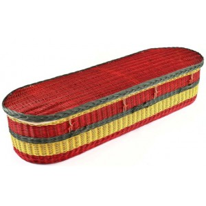 English Willow Imperial (Oval Shape) Coffin – West Indies (Rastafarian Inspired Design)