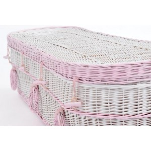 Your Colour - Wicker / Willow Imperial (Oval) Coffins – Purity White with Rose Pink
