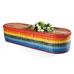English Willow Imperial (Oval Shape) Coffin - Colourful Rainbow (Made from the Heart)