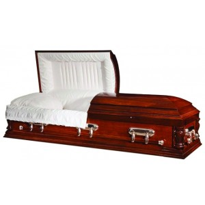 Regency Solid Poplar American Casket – Rich Dark Oak Finish with Luxury Velvet Interior