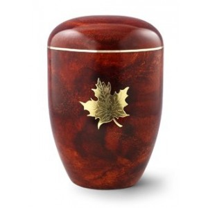 Biodegradable Rosewood Effect ( Maple Leaf Design) Cremation Ashes Urn
