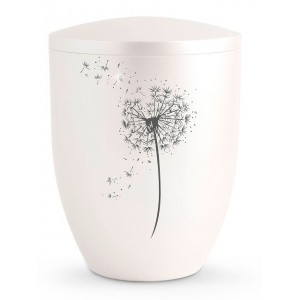 Biodegradable Cremation Ashes Urn – Blowball Dandelion Motif - Swarovski Crystals (Nacre Mother of Pearl)