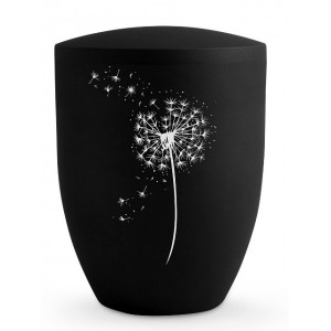 Biodegradable Cremation Ashes Urn – Blowball Dandelion Motif - Swarovski Crystals (Deep Black)