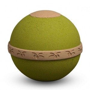 Natural Biodegradable Cremation Ashes Urn – Olive Green Ball – Land or Sea Burial